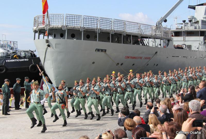La Legión en su llegada al puerto de Málaga. Foto: Carmen Ocaña