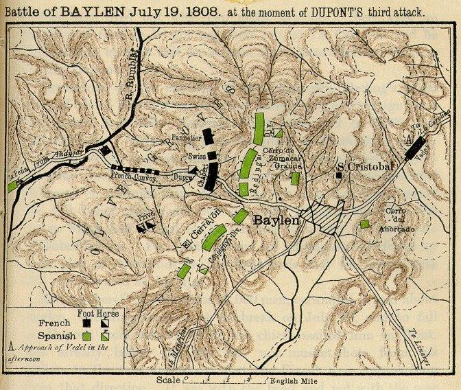 Mapa de la batalla de Bailén en el momento del tercer ataque del general Dupont.