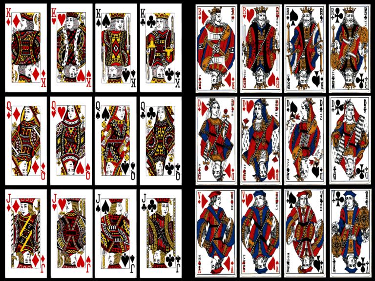 """(Comparativa entre las cartas inglesas y francesas actuales. Antiguamente las francesas usaban las figuras a cuerpo completo. Imagen de Ares Crónida, enlazada en """"Fuentes"""")"""