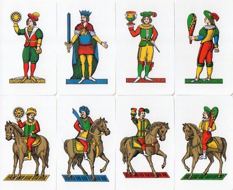 (Baraja Napolitana Clásica muy similar a las antiguas españolas. Las demás barajas italianas adoptarían el modelo inglés de poner la figura en reverso.)