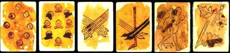 """(Imágenes de Brandemia y Exprimehistorias de la Baraja Española Morisca de 1390, enlazados en """"fuentes"""")"""