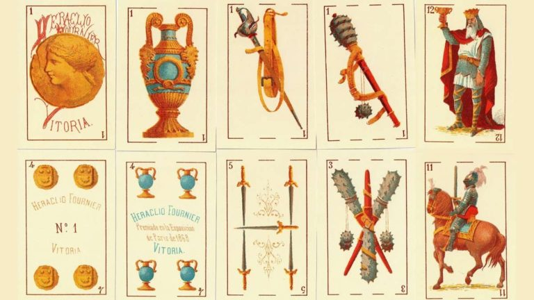 (Baraja de 1868, premiada en la Exposición de París del mismo año. Imagen de Galikus, enlazado en fuentes)