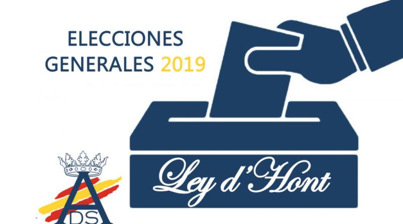 Elecciones Generales: Ley d'Hont