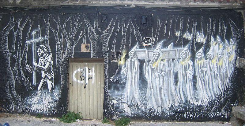 Graffiti de la Santa Compaña en Pontevedra