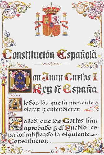 Primera página de la Constitución Española de 1978