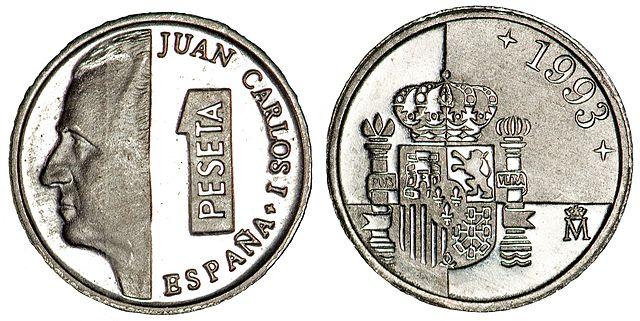 """Monedas de 1 peseta, """"lentejas"""""""