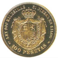 Moneda de 100 pesetas de 1869