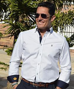 Camisa Oxford Blanca con Bandera de España