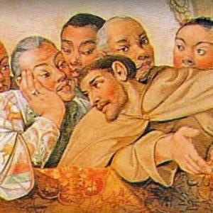 Fray Luis Sotelo acompañado de los samuráis
