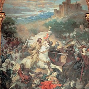 Batalla de Clavijo con la representación de Santiago Matamoros