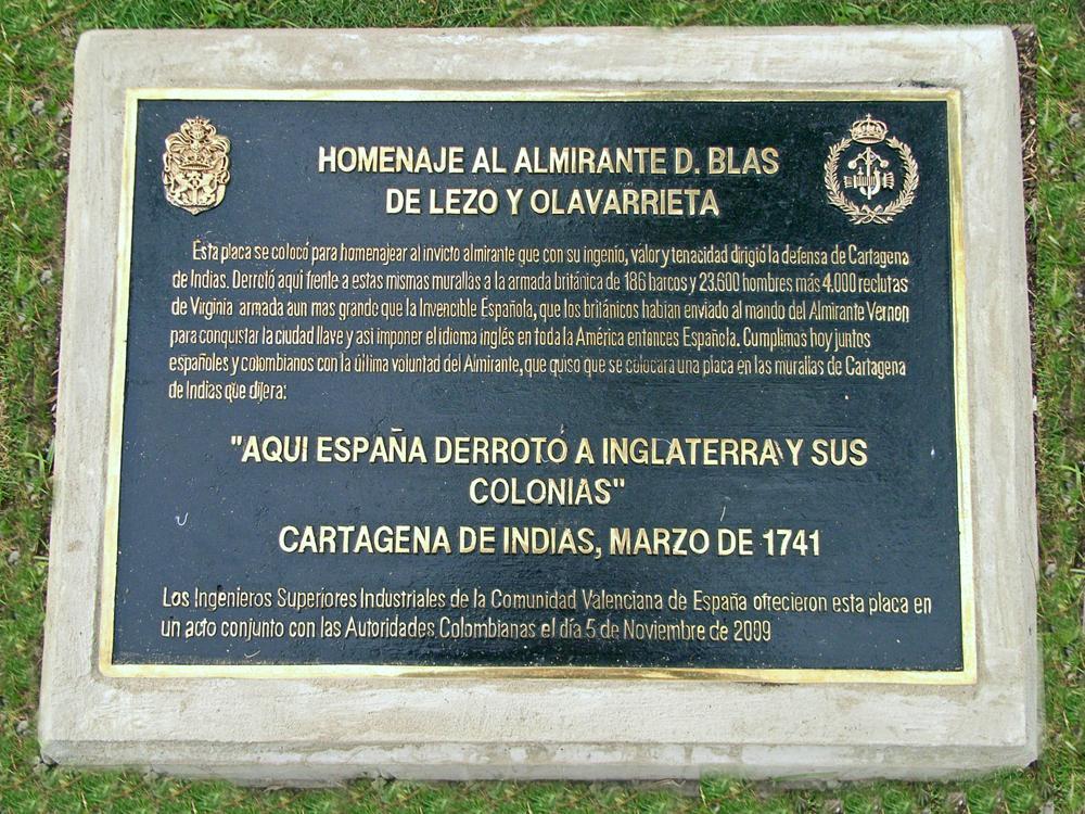 Placa en honor a Blas de Lezo en Cartagena de Indias